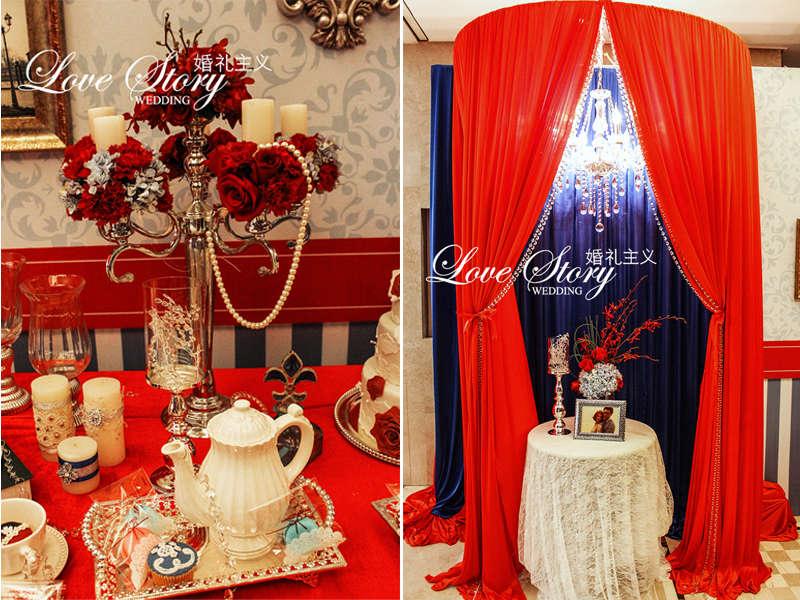 红色欧式婚礼布置甜品台