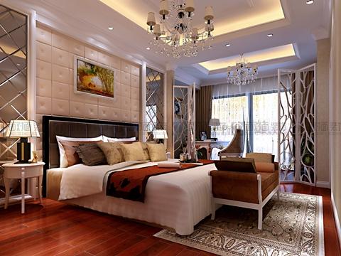 次卧效果图: 卧室给人感觉温暖自在,床头背景采用了软包作为造型