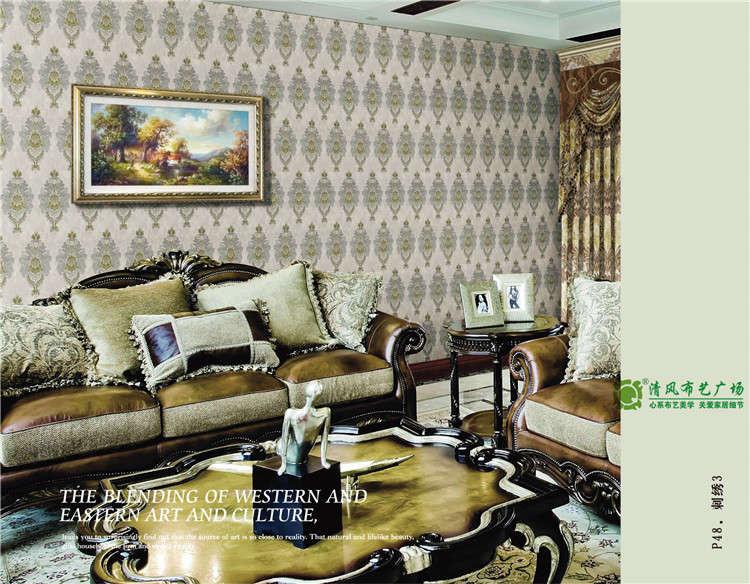 高端刺绣墙布效果展示 常州无缝墙布首选清风布艺广场 百丽美家无缝