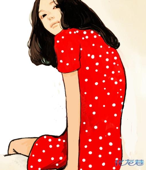 红色女生背影聊天背景