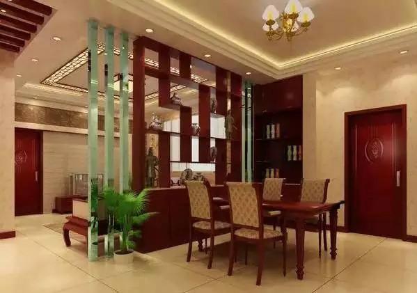 这样的半墙隔断比较适合客厅和餐厅之间的隔断,沙发可以靠墙放置